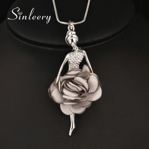 Flower Dancing Girl Pendant Long Necklace - Shop at GlamoRight.Com