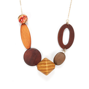 Geometric Vintage Long Wood Pendant Necklaces