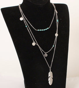 Tassels Feather Pendant Multi Layer Necklace - Shop at GlamoRight.Com