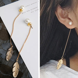 Simulated Pearls Long Tassel Dangle Leaf Feather Drop Earring - Shop at GlamoRight.Com
