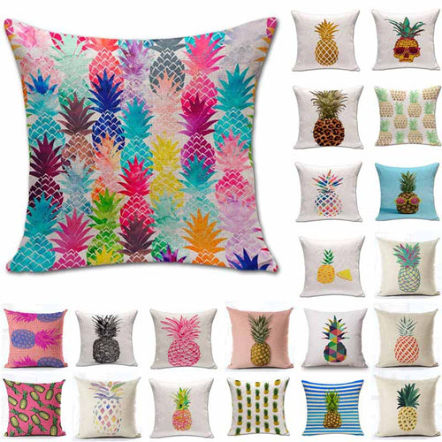 Pineapple Pattern Cotton Linen Throw Pillow Cushion Cover