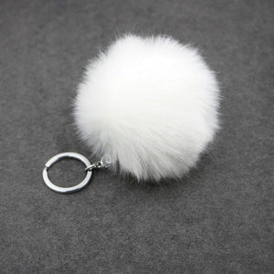 Fluffy faux rabbit fur pompom keychain ring - Shop at GlamoRight.Com
