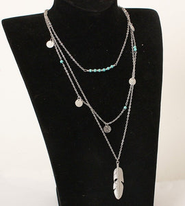 Tassels Feather Pendant Multi Layer Necklace