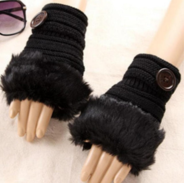 Knitted Faux Fur Fingerless Gloves / Knitting Wool Gloves - Shop at GlamoRight.Com