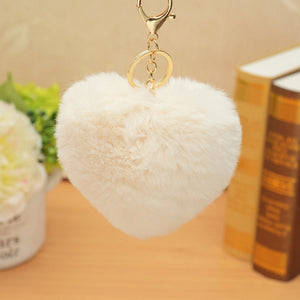 Charm Fluffy Pom Pom Artificial Rabbit Fur Heart Key Chain - GlamoRight.Com