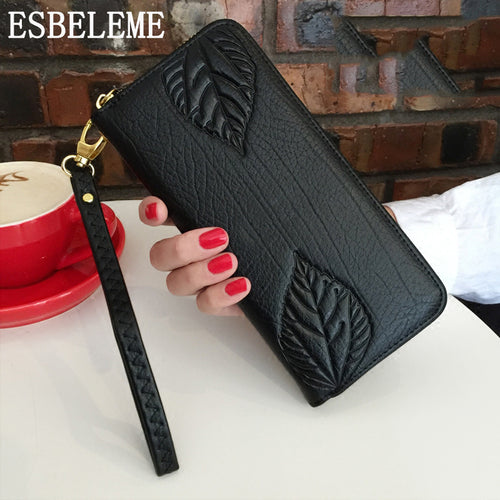 Women Long Wallet Genuine Leather Purse