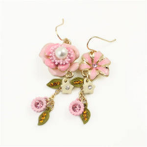 Pink flowers Imitation pearl earrings - Shop at GlamoRight.Com
