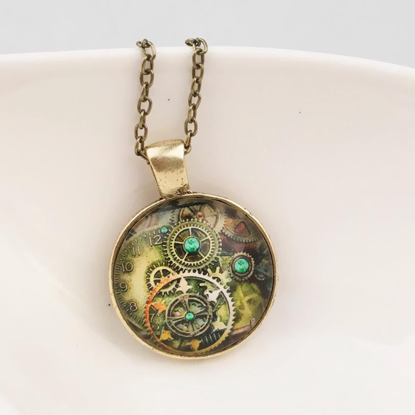 Pendant Necklace Art Tree Glass With Retro Mechanical Gear Time - Shop at GlamoRight.Com