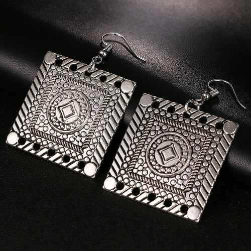 Hollow Out Trendy Bohemian Vintage square Earrings