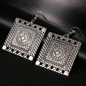 Hollow Out Trendy Bohemian Vintage square Earrings - Shop at GlamoRight.Com