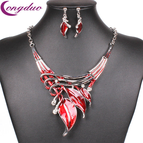 Red Enamel Jewelry Set