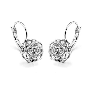Italina Rose Gold Color CZ Crystal Flower Earrings - Shop at GlamoRight.Com