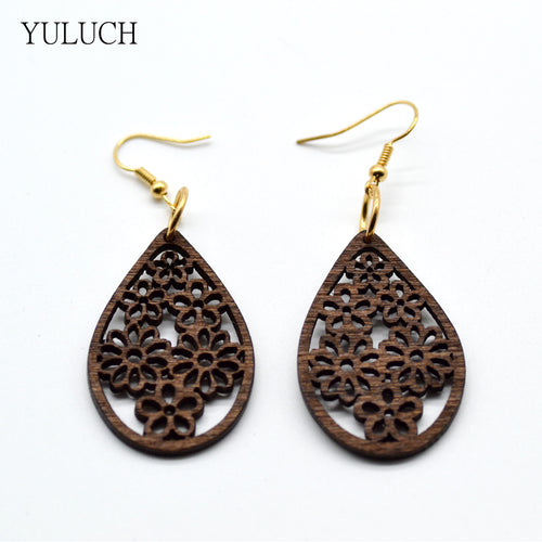 Hollow Wood Earrings - Shop at GlamoRight.Com
