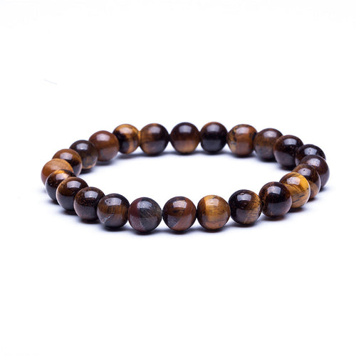 Tiger Eye Natural Stone Lava Round Beads Bracelet - Shop at GlamoRight.Com