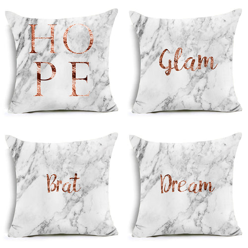 Polyester Pillow Case Decoration Letters Pattern Square Cushion Cover