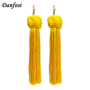 Knot Long Tassel Bohemian Dangle Drop Earring - Shop at GlamoRight.Com