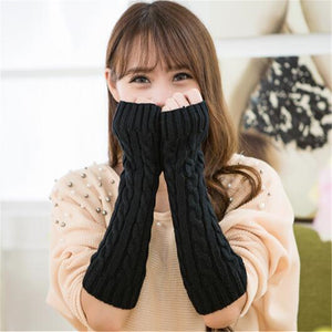 Elbow Long Fingerless Winter Warm Knitted Gloves - Shop at GlamoRight.Com
