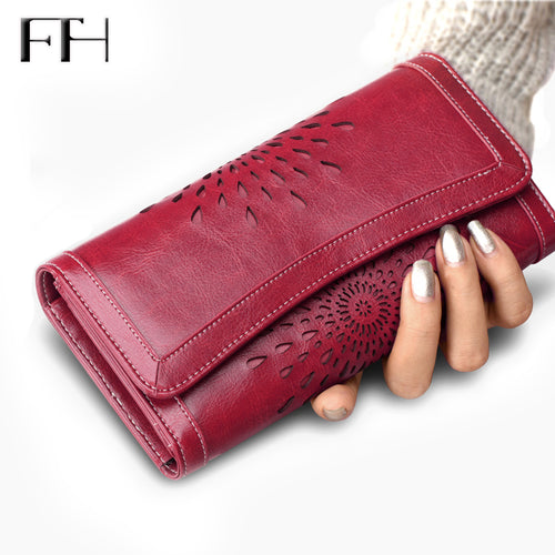 Retro Luxury sunflower hollow out Women's Genuine Cow Leather Wallet