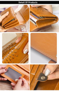 Retro Luxury sunflower hollow out Women's Genuine Cow Leather Wallet - Shop at GlamoRight.Com