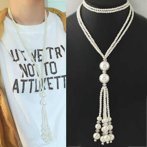 Double Chain Charm Simulated Long Tassel Pearl Beads Pendant Necklace - Shop at GlamoRight.Com