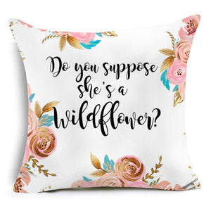 Wildflower character letters pattern pillow case modern decor