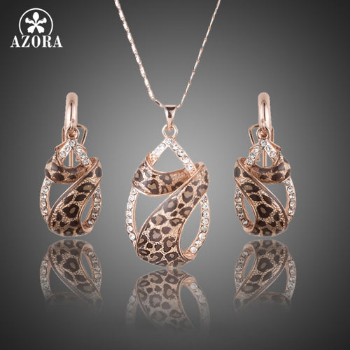 Crystals Water Drop Twining With Leopard Riband Earrings and Necklace Jewelry Sets