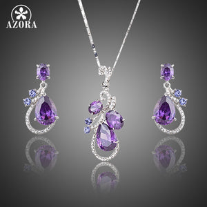 Purple Cubic Zirconia Water Drop Earrings and Pendant Necklace Set