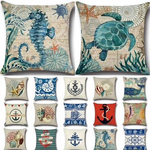 Sea Series Navigation Cotton Linen Throw Pillow Cushion Cover - Shop at GlamoRight.Com