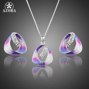 Unique Oil Painting Pattern Austrian Crystal Stud Earrings and Pendant Necklace Jewelry Sets