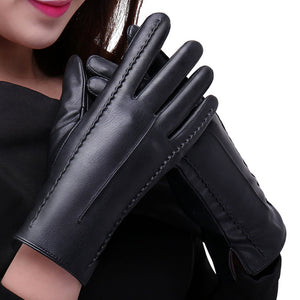 High Quality Solid Winter Thick Warm Leather Touch Screen Gloves - Shop at GlamoRight.Com