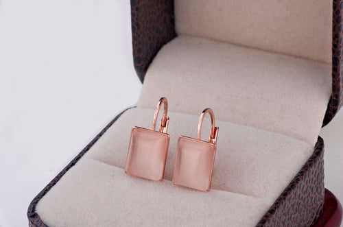 Rose Gold Color Crystal Opal Square Earrings - Shop at GlamoRight.Com
