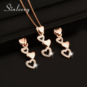 Romantic Small Heart Necklace Earrings Set