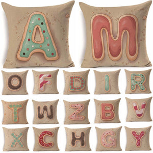 Letter Pattern Cotton Linen Throw Pillow Cushion Cover