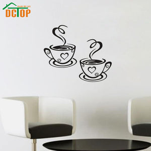 Double Coffee Cups Wall Stickers - Shop at GlamoRight.Com