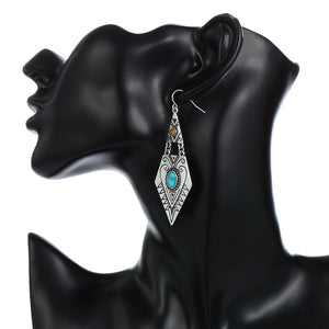 Tibetan Long Ethnic  Geometric Carved  Dangle Earrings - Shop at GlamoRight.Com