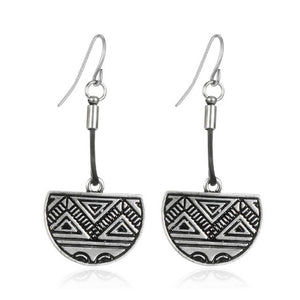 Retro Style Ethnic Vintage Half Round Carved Drop Earrings - Shop at GlamoRight.Com