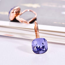Rose Gold Color Square Purple Blue CZ Crystal Earrings - Shop at GlamoRight.Com