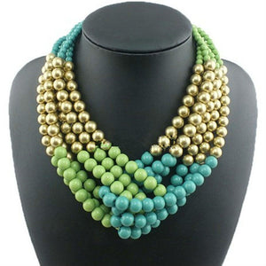 Unique Multilayer Bubble Chunky Beads Choker Statement Necklace - Shop at GlamoRight.Com
