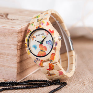Lady Wood Watch for Women Bamboo Band Painting Butterfly