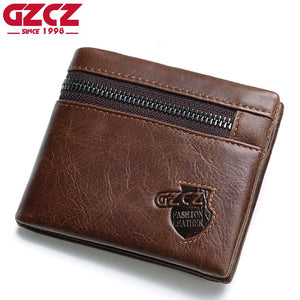 Genuine Leather Wallet Men Zipper Design