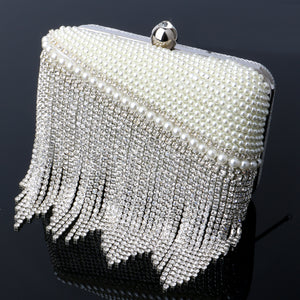 Tassel Rhinestones Evening Bags Chain Shoulder Clutch