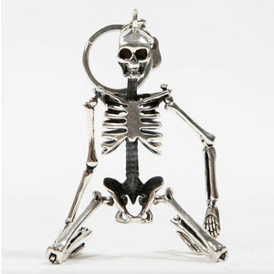 Foldable skeleton pendant antique silver color metal alloy skull keychain - Shop at GlamoRight.Com