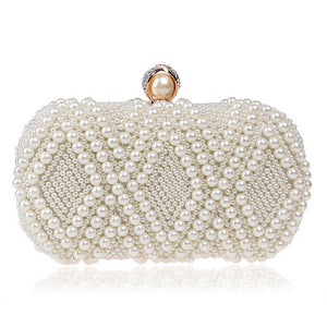 Egg Beaded Rhinestones Pearl Day Clutch Chain Shoulder Evening Bag - Shop at GlamoRight.Com