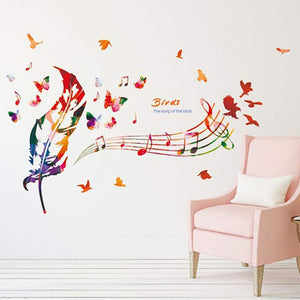 Modern Music Note Birds Feather Wall Sticker - Shop at GlamoRight.Com