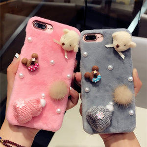 Knitted Hat Cover Case Plush Furry Phone Case For iPhone 8 7 6 6S Plus Soft Cute