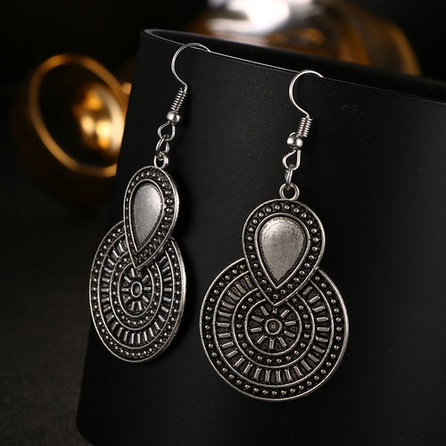 Vintage Silver Flower Drop Earrings for Women - Shop at GlamoRight.Com