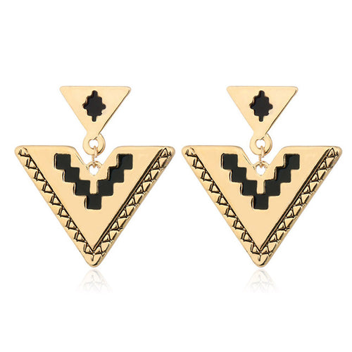 Double Triangle Drop Earrings - Shop at GlamoRight.Com
