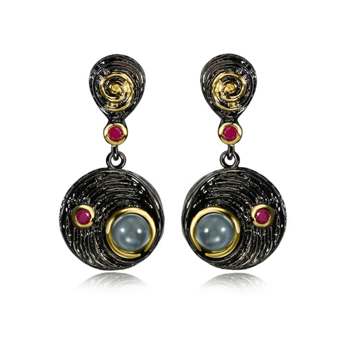 Vintage Gold Black Gold-color Red Cubic Zircon Earrings - Shop at GlamoRight.Com