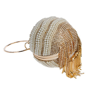 Crystal Beading Tassel Rhinestones with Two Side Diamonds Chain Shoulder Bag / Clutch - Shop at GlamoRight.Com
