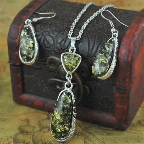 Green Crystal Necklace Earrings Jewelry Sets